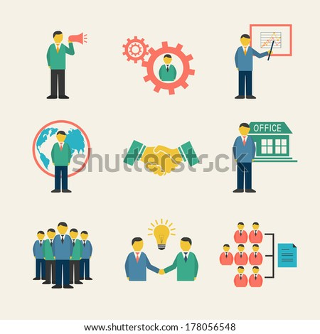 Flat business people meeting icons set of collaboration and teamwork isolated vector illustration - stock vector