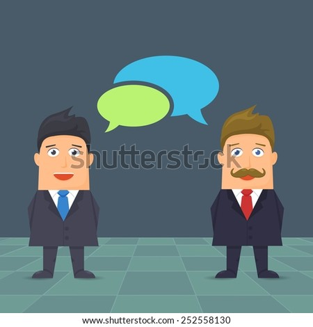 Flat Business People Speech Bubble Vector Design - stock vector