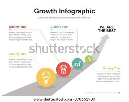 Flat business presentation vector slide template with arrow way diagram - stock vector