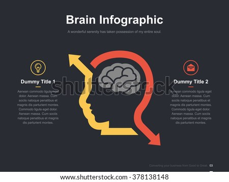 Flat business presentation vector slide template with brain arrow diagram