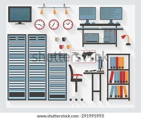 Flat Business Server Room Furniture Icons Stock Vector 291995993 ...