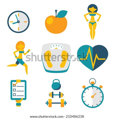 Flat business shopping and travel hands trendy flat isolated icons set vector illustration - stock vector