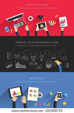 flat business templates vector - stock vector