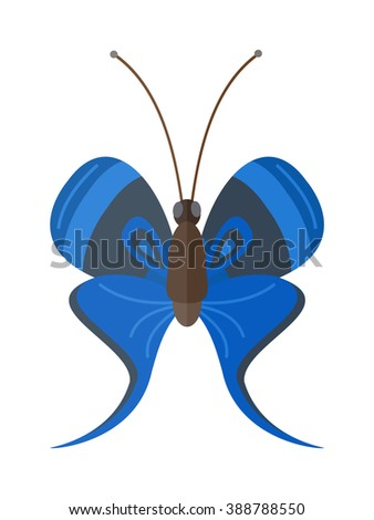 Flat butterfly vector. Flat butterfly isolated on white background. Flat butterfly vector illustration. Colored flat butterfly isolated on white background. Butterfly vector - stock vector