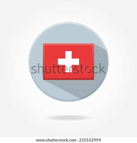Flat button - Switzerland - stock vector
