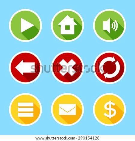 Flat buttons set - stock vector