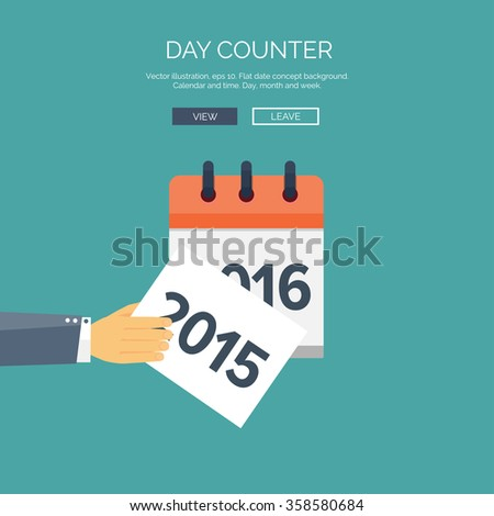 Flat calendar icon. Date and time background. New year. 2016, 2015. - stock vector
