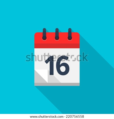 Flat calendar icon. Date and time background. Number 16 - stock vector