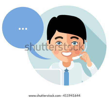 Flat call-center icon. This young man customer service operator smiling and talking on the phone. His face turned full face and looking at viewer. Speech bubble. eps8
