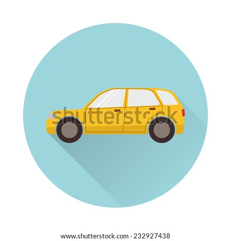 Flat car icon with round frame and long shadow - stock vector