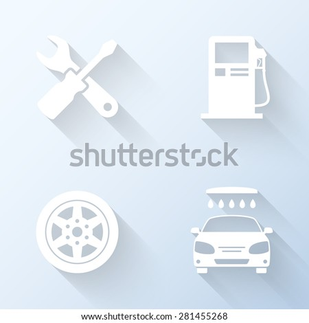 Flat car service icons with long shadows. Vector illustration - stock vector