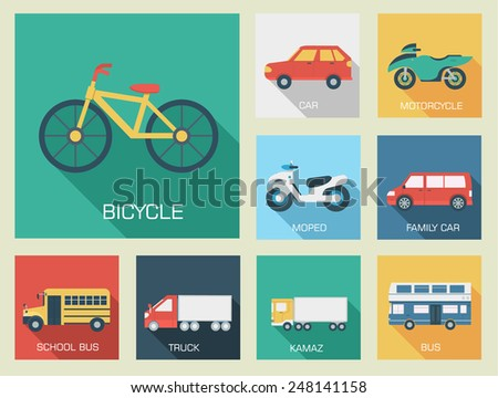 Flat cars icon backgrounds concept set illustration design - stock vector
