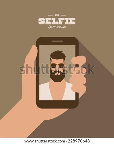 flat cartoon bearded hipster character taking selfie photo on smart phone, vector illustration with hand , mobile phone , man - stock vector