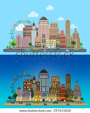 Flat cartoon carousel historic skyscrapers city set day and night. Road highway avenue transport street traffic before line buildings skyscrapers business center offices. Urban life collection - stock vector