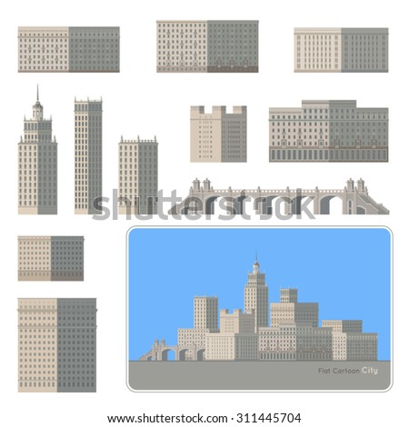 Flat Cartoon City. Modern city elements Set. Buildings, towers and a beautiful bridge. Design your own city. Vector.