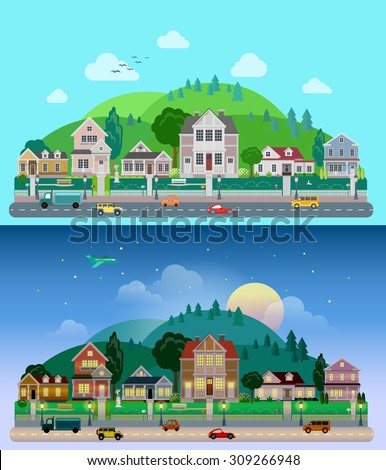 Flat cartoon city town suburb set day and sunset night hilly mountains on background. Road transport street traffic before line of low-rise buildings townhouse mansion house. World cities collection - stock vector