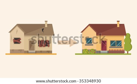 Flat Cartoon House Before and After Repair. Colorful Vector Illustration