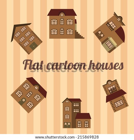 Flat cartoon houses on striped background. Vector illustration - stock vector