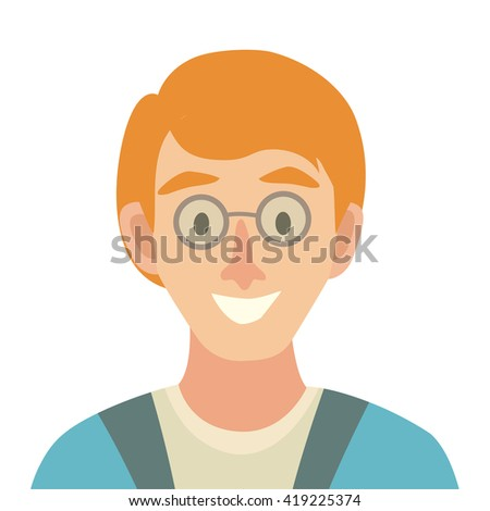 Flat cartoon man vector icon. Man with red hair icon illustration.Icelander character. Face of man icon. Face of people in glasses icons cartoon style.Isolated avatar on white background