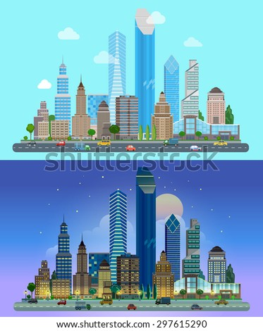 Flat cartoon skyscraper business city set day and night. Road highway avenue transport street traffic before line of buildings skyscrapers business center offices. Urban life lifestyle collection. - stock vector