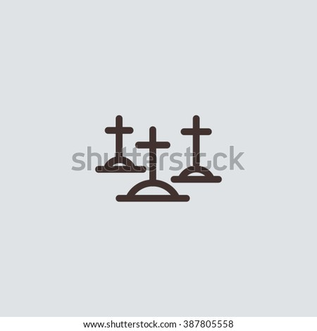 Flat cemetery icon for map, cartography, app or web. Vector sign. - stock vector