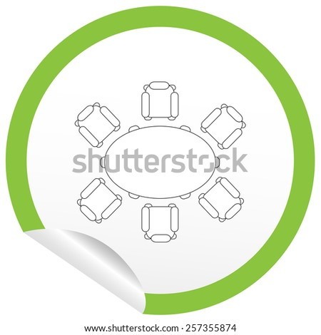 Flat chair and table icon on sticker for floor plan outline. Line editable EPS10 vector furniture illustration. View from above