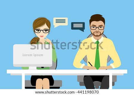 Flat character of business consulting concept , stock vector illustration - stock vector