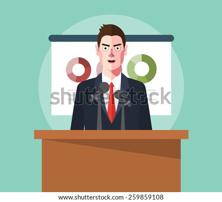 Flat character of presentation concept illustrations - stock vector
