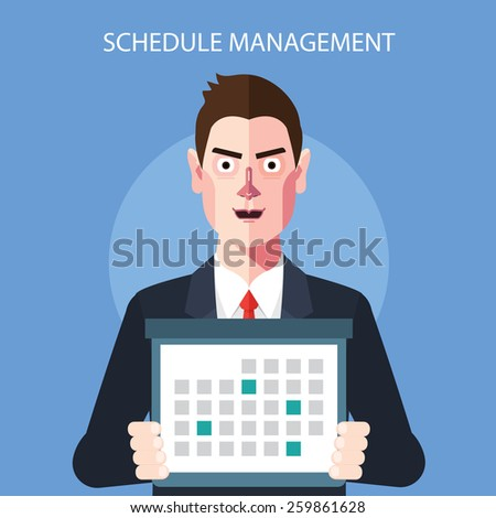 Flat character of schedule manager concept illustrations - stock vector
