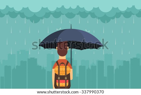Flat Character with Umbrella Under the Rain. Big City Silhouette on the Background. Vector Illustration - stock vector
