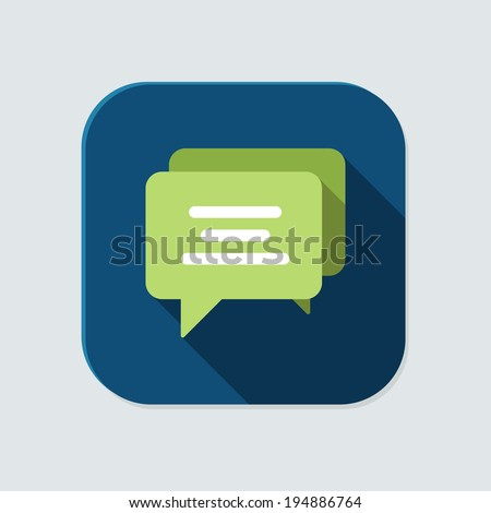 Flat chat icon for application on grey background - stock vector