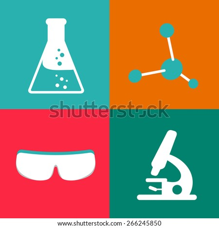 Flat chemical icons - stock vector