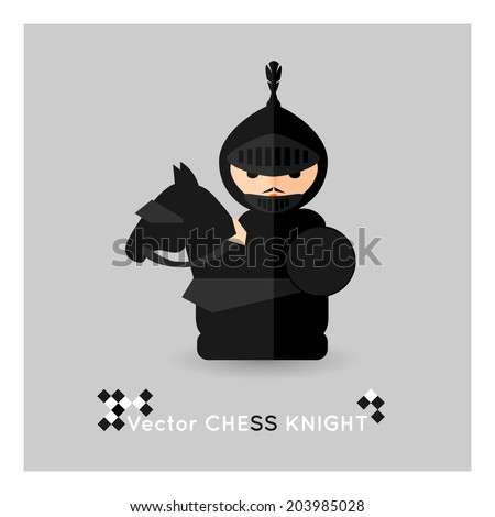 Flat chess black knight on a grey background. Vector concept - stock vector