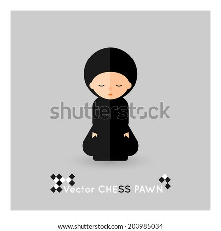 Flat chess black pawn on a grey background. Vector concept - stock vector
