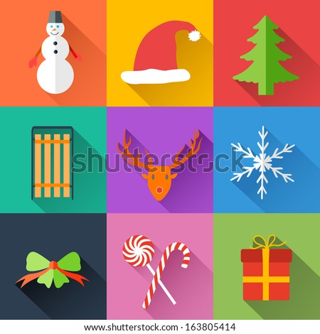 Flat Christmas Background Concept. Vector Illustration, eps10, contains transparencies. - stock vector