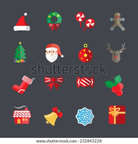 flat christmas icon set 2, vector eps10