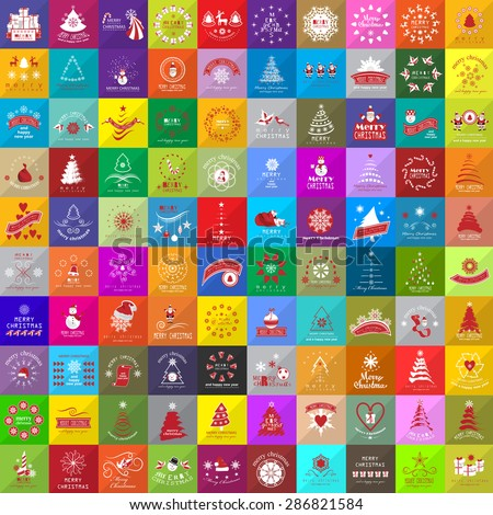 Flat Christmas Icons And Elements Set - Isolated On Mosaic Background - Vector Illustration, Graphic Design Editable For Your Design - stock vector