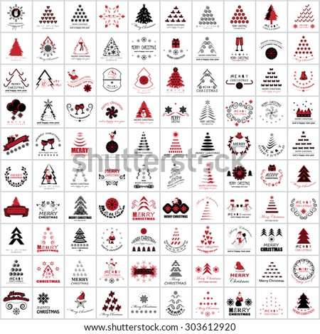 Flat Christmas Icons And Elements Set - Isolated On White Background - Vector Illustration, Graphic Design Editable For Your Design - stock vector