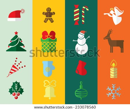 flat Christmas icons for decorations - stock vector