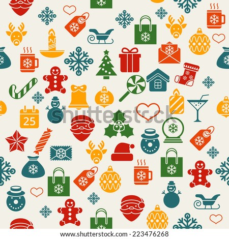 Flat christmas icons seamless pattern Vector background - stock vector