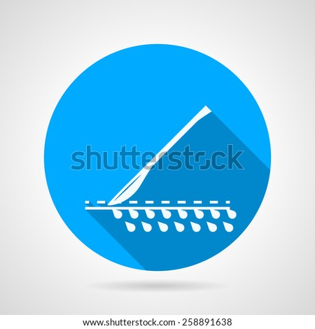 Flat circle blue vector icon with white silhouette cutting scalpel. Long shadow design.  - stock vector