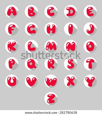 Flat circle letters icon. Flat style Alphabet. Kids Abc. Letters buttons. Red color. - stock vector