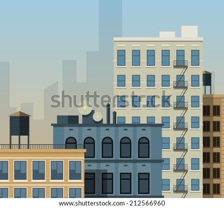 Flat city background. New York style buildings rooftops. EPS10 vector illustration. - stock vector