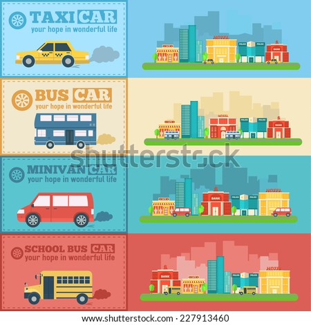 Flat city cars infographic banners traffic background concept. Tamplate for mobile and web design - stock vector