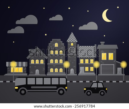 Flat city night  - stock vector