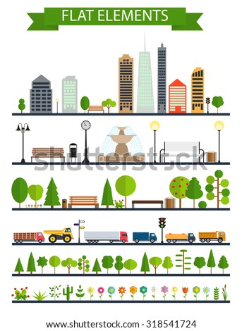 Flat City, Park, Forest, Road Elements. EPS10 - stock vector