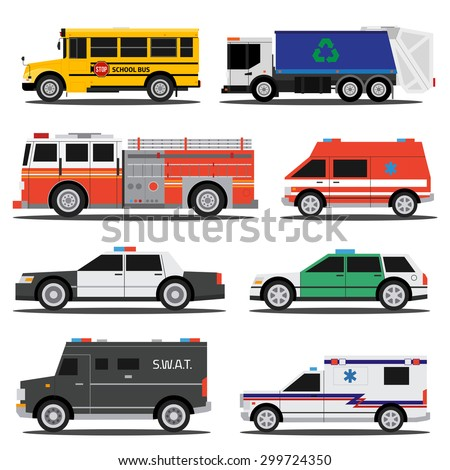 Flat city service cars, policem ambulance, fire engine, school bus, garbage truck - stock vector