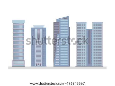 Flat City Skyscraper Business Buildings