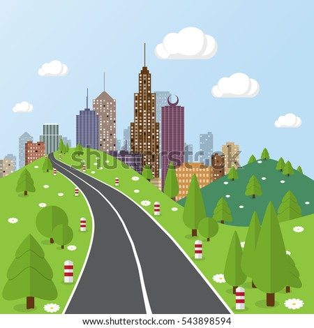 Flat cityscape and nature background. Town architecture. Urban landscape illustration. Modern metropolis skyscraper silhouette. Road and highway.