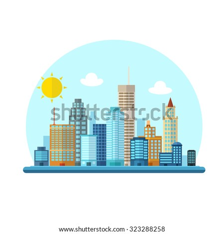 Flat cityscape vector illustration - stock vector